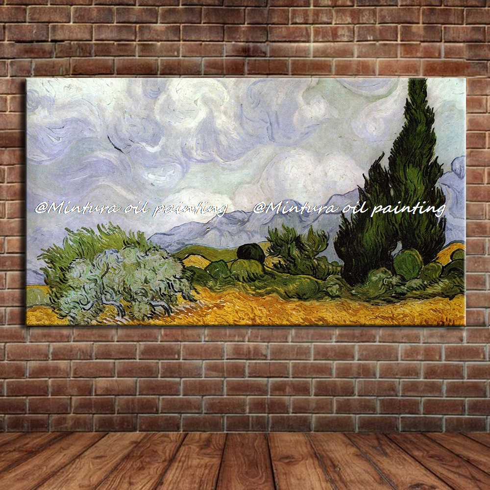Masterpiece Reputation Hand-painted Modern Home Decor Impressionist Oil Painting Wheat Field With Cypresses By Vincent Van Gogh