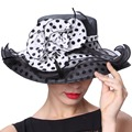 June's Young Women Hats Sinamay Chiffon Material Polka Dot Pattern Floral Special Designer Fashion Lady Summer Sun Fedoras Hats