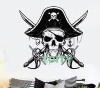 Decalque Da Parede Do vinil Sabres Crânio Capitão Pirata Do Mar Adesivo Estilo Dormitório Quarto Teem Home Interior Do Quarto Art Decor Removível Mural