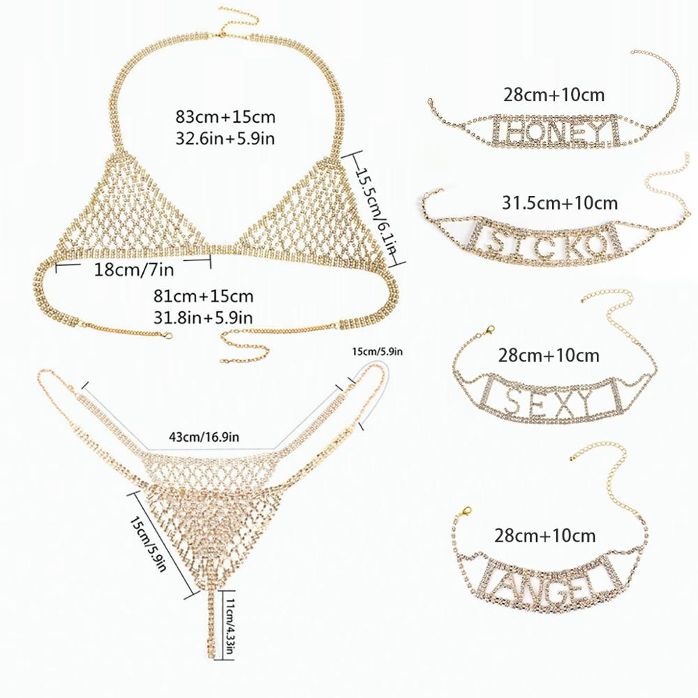 SHIXIN Crystal Sexy Body Jewelry for Women Rhinestone Underwear Belly Chain Cage Chest Bra Bikini Suit Lingerie Set Choker Gifts
