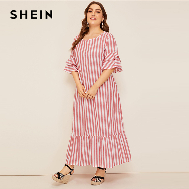 SHEIN Plus Size Bell Sleeve Ruffle Trim Striped Maxi Dress 2019 Women Spring Summer Casual Ruffle Hem Half Sleeve Tunic Dresses 1