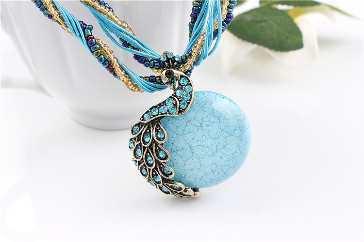 ZOSHI Blue natural crystal stone pendant necklace fashion peacock pendant necklace for women jewelry 15