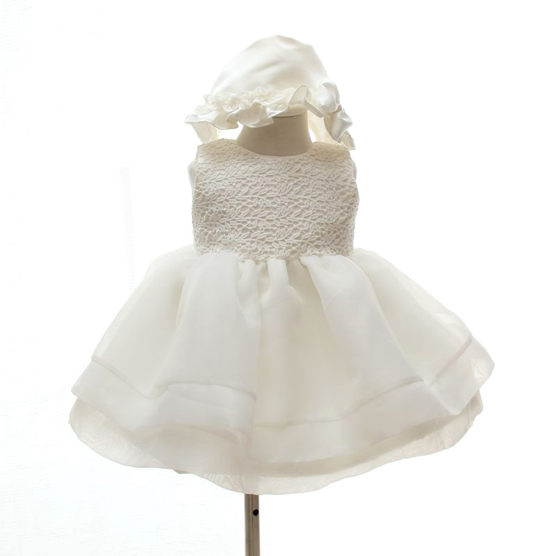 Brand Baby Baptism Dresses Infant Baby Girl Christening Gown Toddler 1 2 Years Ropa Bebe Birthday Party Baptism Dress With Hat 2017 kids clothes flower girl party dress baby birthday baptism lace tutu dresses for girls infant christening gown vestido 2 9y