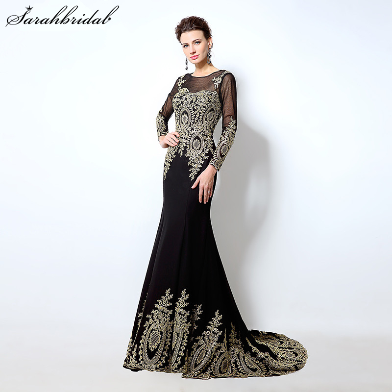 Elegant Long Sleeve Mermaid Long Evening Dresses Lace Appliques Black - Gaun acara khas - Foto 1