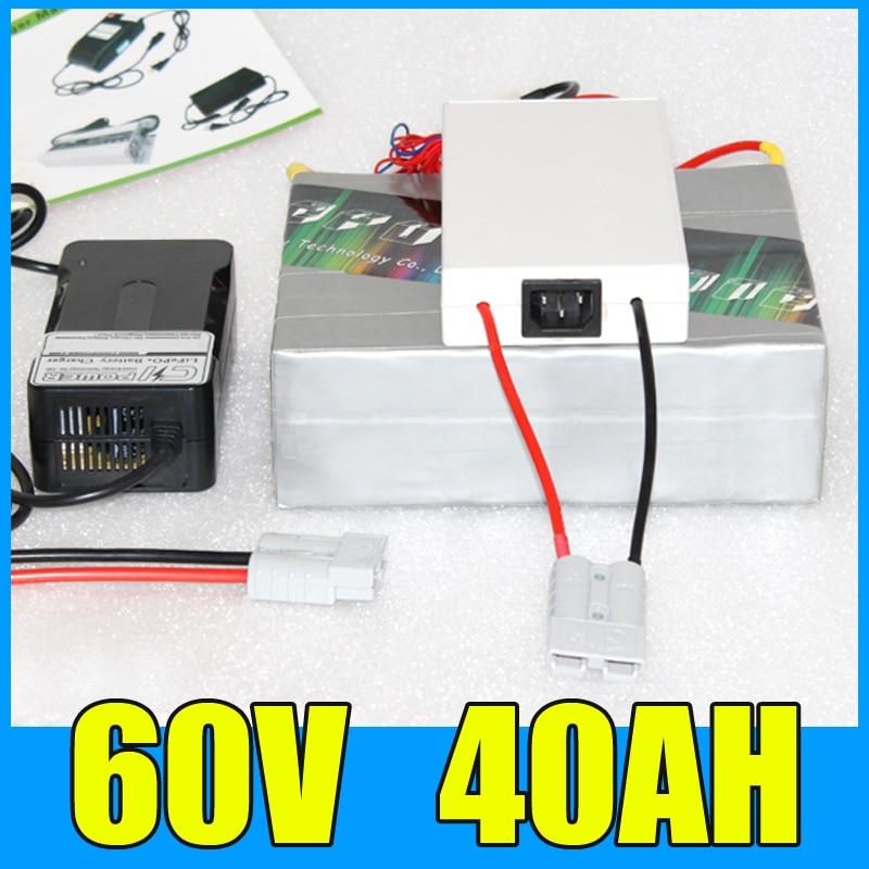 60 볼트 40AH 리튬 배터리 팩, 67.2 볼트 2000 와트 전기 자전거 스쿠터 태양 에너지 배터리, 무료 BMS 충전기 배송