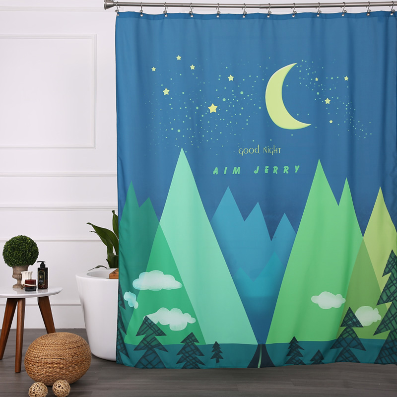 Aimjerry Extra Long Design Eco Friendly Colorful Fabric Bathtub Bathroom Shower Curtain Liner Clear With 12 Hooks Waterproof In Curtains From Home