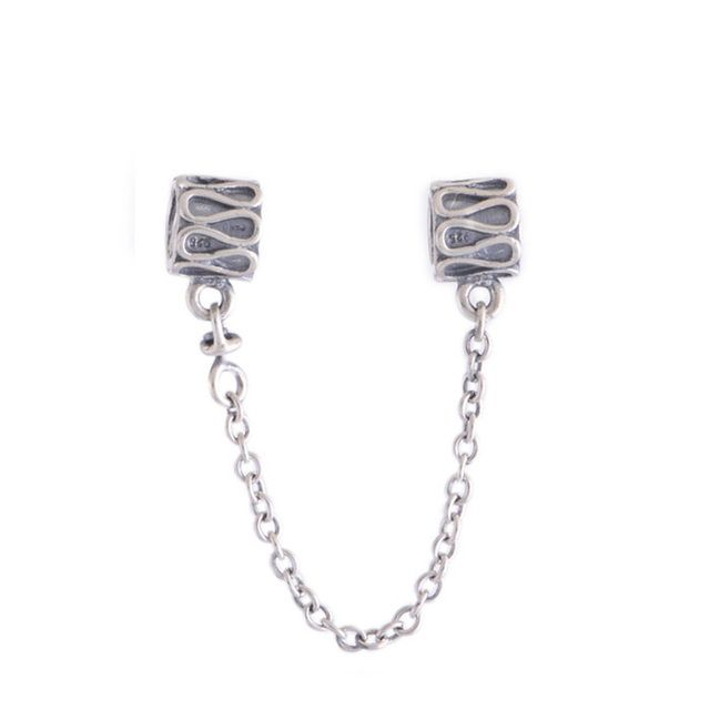 Lock Safety Chain Vintage Charms DIY Jewelry Making for Women Fashion 925 Sterling Silver Jewelry Fit Pan Brand Charm Bracelets