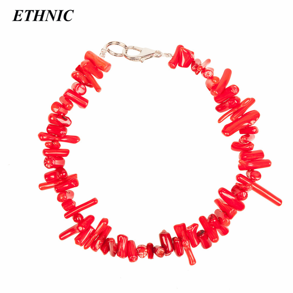 ETHNIC 2018 Fashion Pink White Red Natural Coral Layered Chain Bracelets for Women Fashion A Bracelet Drop ship