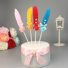 4pcs/lot Mix Colors Delicate Feather Cake Topper with Little Flower for Wedding Birthday Baby Shower Party Decor Crafts