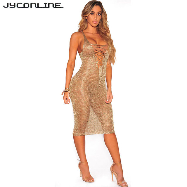 77782801daf JYConline 2017 Summer Sexy Sleeveless Gold Mesh Dress Women Sheath Hollow  Out Crochet Beach Dress Deep V Neck Bodycon Club Dress