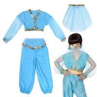 Kids Arabian Princess Costume Girls Jasmine Aladdin Genie Bellydancer Costplay Veil Harem Outfit Halloween Carnival Fancy Dress