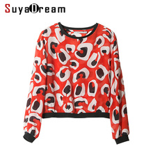 Women Long sleeve SHIRT 100% Real silk Printed casual Top 2017 Fall New T shirt Bottoming shirt Red