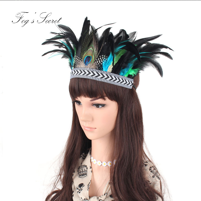 Peacock Feather Hair band Gypsy Bohemian Holland style Hand made elasticity Headband For Casual Party Show exotic   Headwear