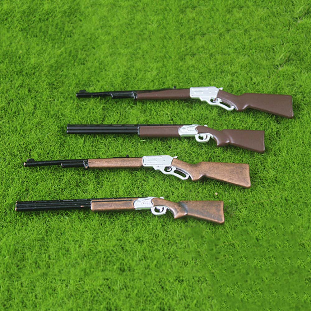 1Pcs 1/12 Dollhouse Miniature Accessories Mini Metal Gun Model Simulation Rifle Toy For Doll House Decoration