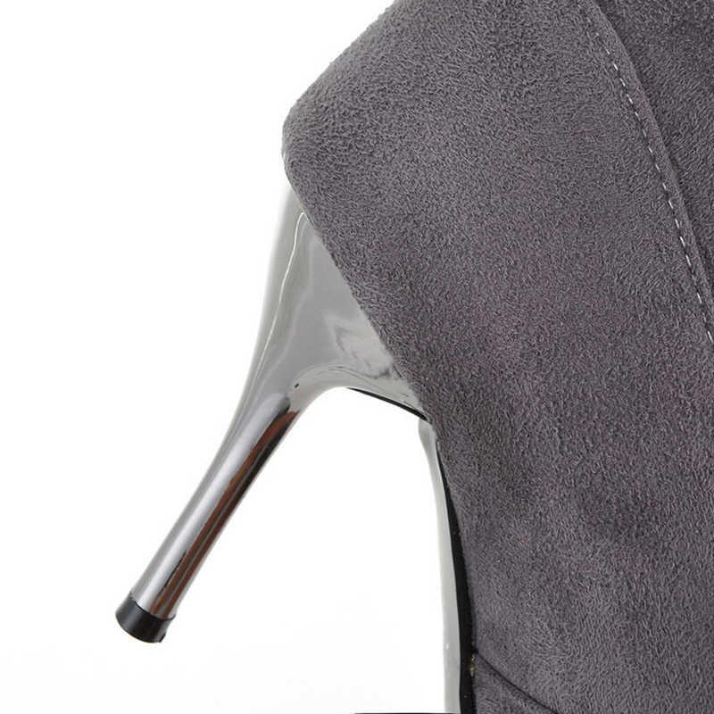 Diz Üzerinde çizmeler kadın ayakkabıları Seksi Yüksek Topuklu Çizmeler Kadın Diz Yüksek Çizmeler Kadın Sonbahar Stiletto Bayanlar Ayakkabı Artı Boyutu 42 43