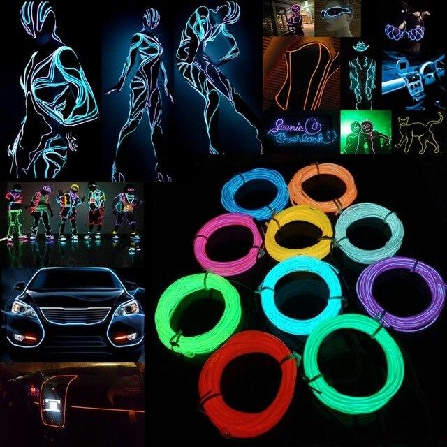 5 M EL Drutu Tube Rope Battery Powered Elastyczne Neon Zimne Światło Wesele Wystrój Samochodu Z 2 * AA Kontroler baterii