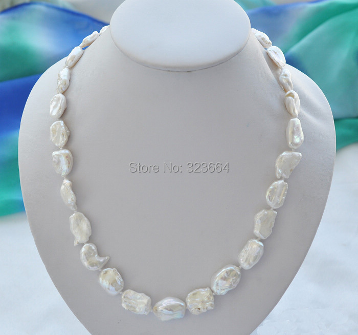 21 20mm NATURE white DENS keshi REBORN pearl necklace