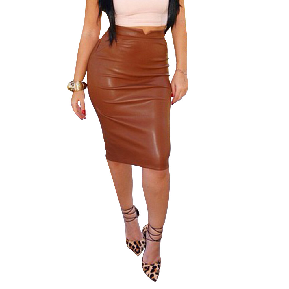 Faldas Mujer Moda 2019 European And American Fashion Brown / Purplish Red / Black / Gray / Blue PU Comfort Package Hip Skirts