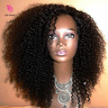 8A Grade Peruvian Virgin Human Afro Kinky Wig Curly Hair 130 Density Human Hair Front Lace Kinky Afro Curly Wigs For Black Women