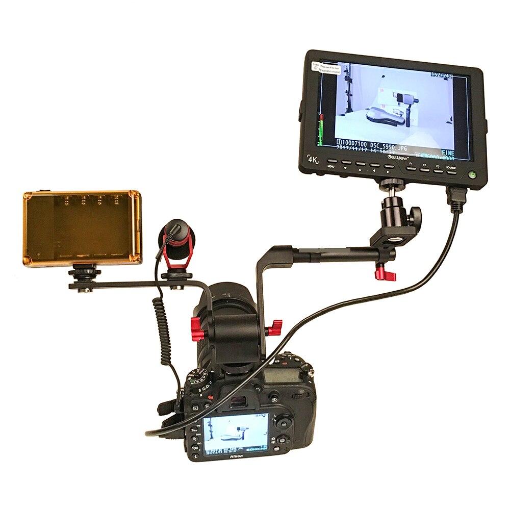 DIGITALFOTO DSLR Monitor/EVF/Microphone/LED Camera Lighting Holder Bracket with Adjustable 1/4 caliber screw hot shoe Expander