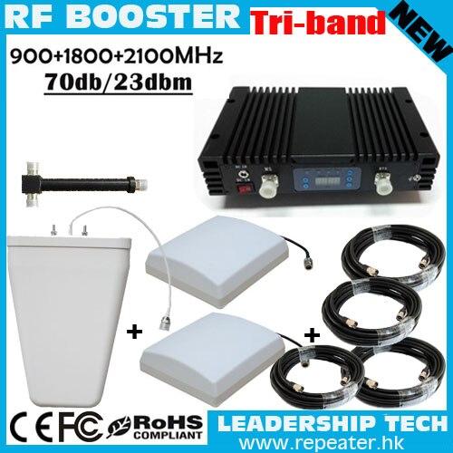 Работы 600m2 Мобильный Booster три сигнала группа Усилители домашние 900 1800 2100 GSM репитер с ALC/MGC сотовый телефон сигнал ретранслятор