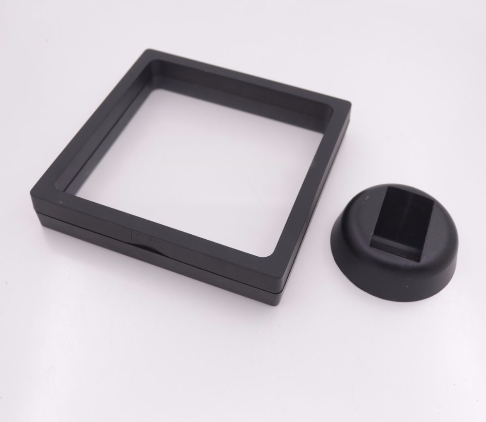 Transparent Film Suspension Frame Watch Jewelry Display Box White Black Select 70mm-110mm Choose