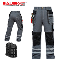 B114 100% Cotton Men's Casual Cargo Work Pants With EVA Knee Pads Reflective Tapes Multi Pocket