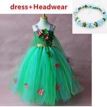 2019 European and American foreign trade ice romance Aisha princess dress girl dress and wreath headdress new pattern girl princess foreign trade sleeping princess show serve thick dress mesh