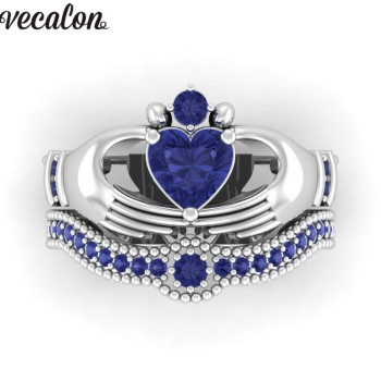 Blue Birthstone claddagh ring