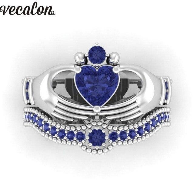 Blue Birthstone claddagh ring