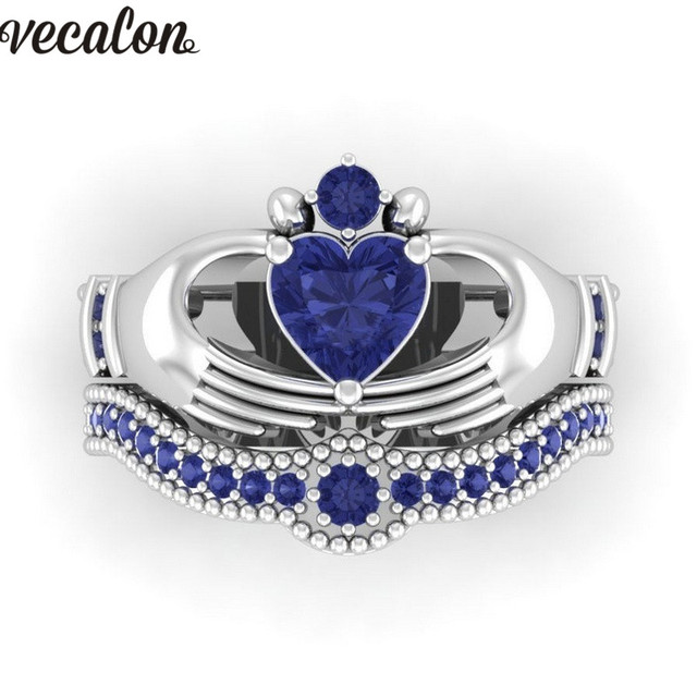 Vecalon Lovers Blue Birthstone claddagh ring 5A Zircon Cz White gold