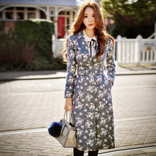 DABUWAWA Original 2016 Brand Autumn Winter Jacket Dark Gray Printed Runway Vintage Casual Slim Extra Long Coat Female