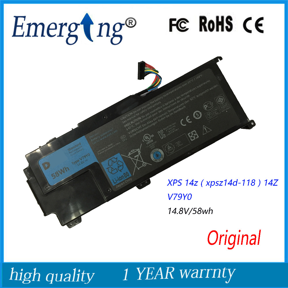 14.8V 58WH New Original Laptop Battery for Dell XPS L511z L511X L412Z 14z 15z Series V79YO V79Y0 58wh original laptop battery for xps 14z l412x 14z l412z v79y0 ymyf6 0ymyf6