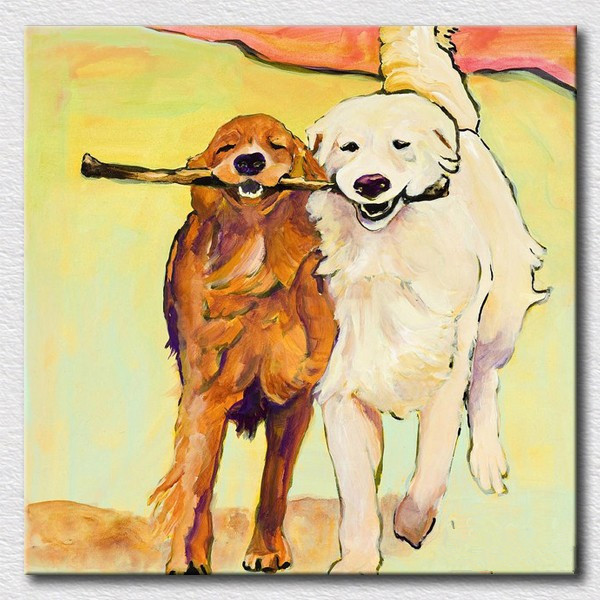 Modern oil painting of lovely dogs canvas wall art for kids bedroom ...