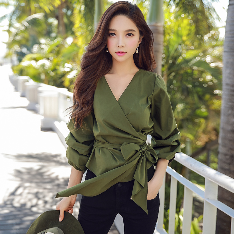 Dabuwawa Women V neck Puff Sleeve Casual Bow Blouse Shirt for Female Girls Green wrap Elegant blouse