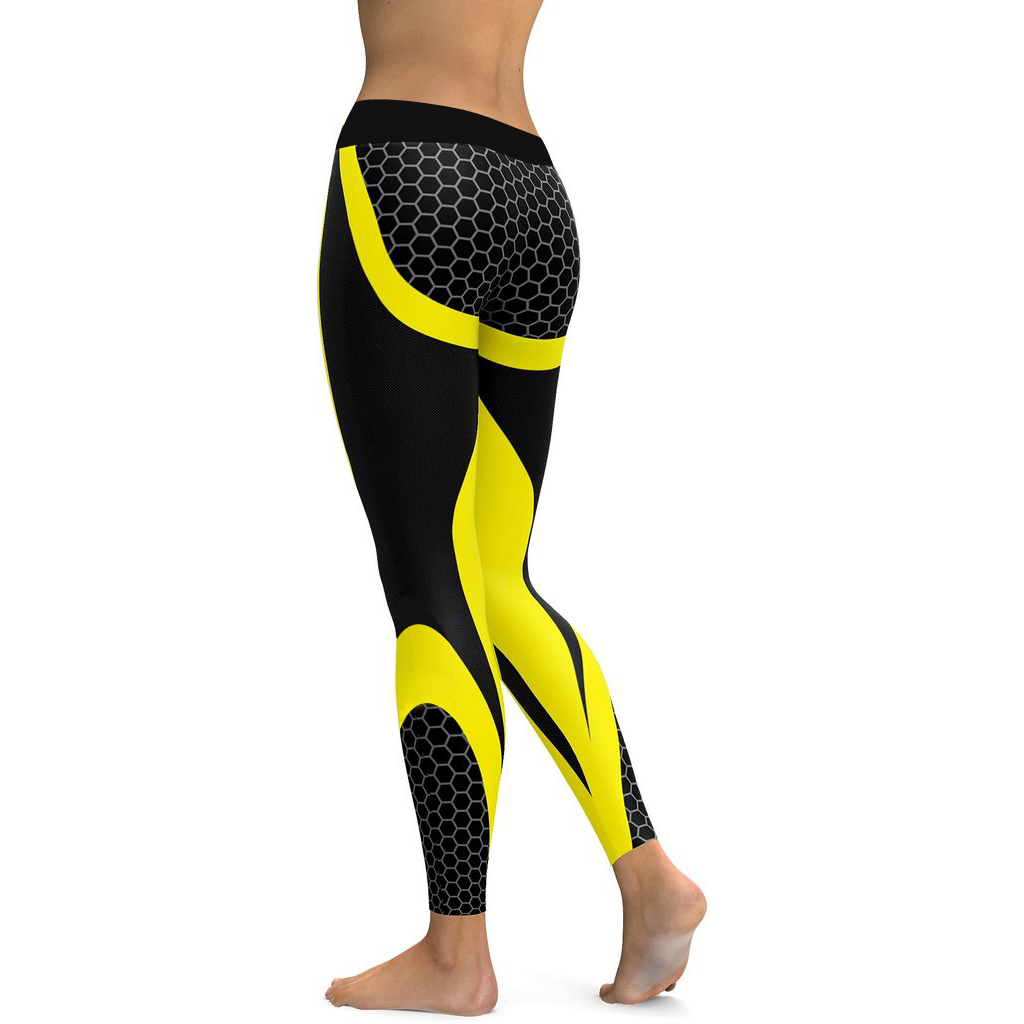 LI-FI Yoga Pants Honeycomb Carbon Women Fitness Workout Sports Running Leggings