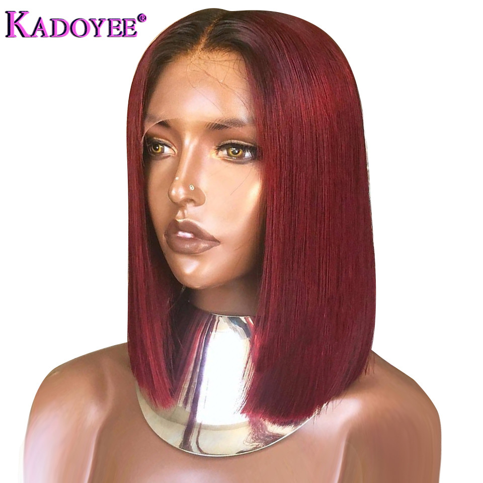 13*4 Lace Front Human Hair Wigs For Women Remy Brazilian Straight Black #1b Burgundy /red Wine Color Hair Wig Bleached Knots