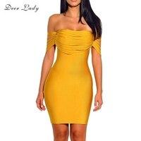 Deer Lady New Bandage 2017 Dresses Vestidos Short Sleeve Dress Bodycon Yellow Rayon Bandage Dress Off