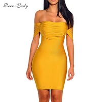 Deer Lady New Bandage 2017 Dresses Vestidos Short Sleeve Dress Bodycon Yellow Rayon Bandage Dress Off