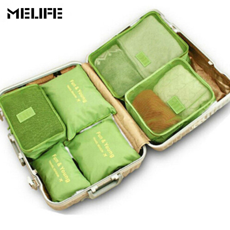 MELIFE 6 Pcs set Travel Luggage bag Men women Fashion Organizers Packing cubes High quality Double Zipper Waterproof Mesh bags