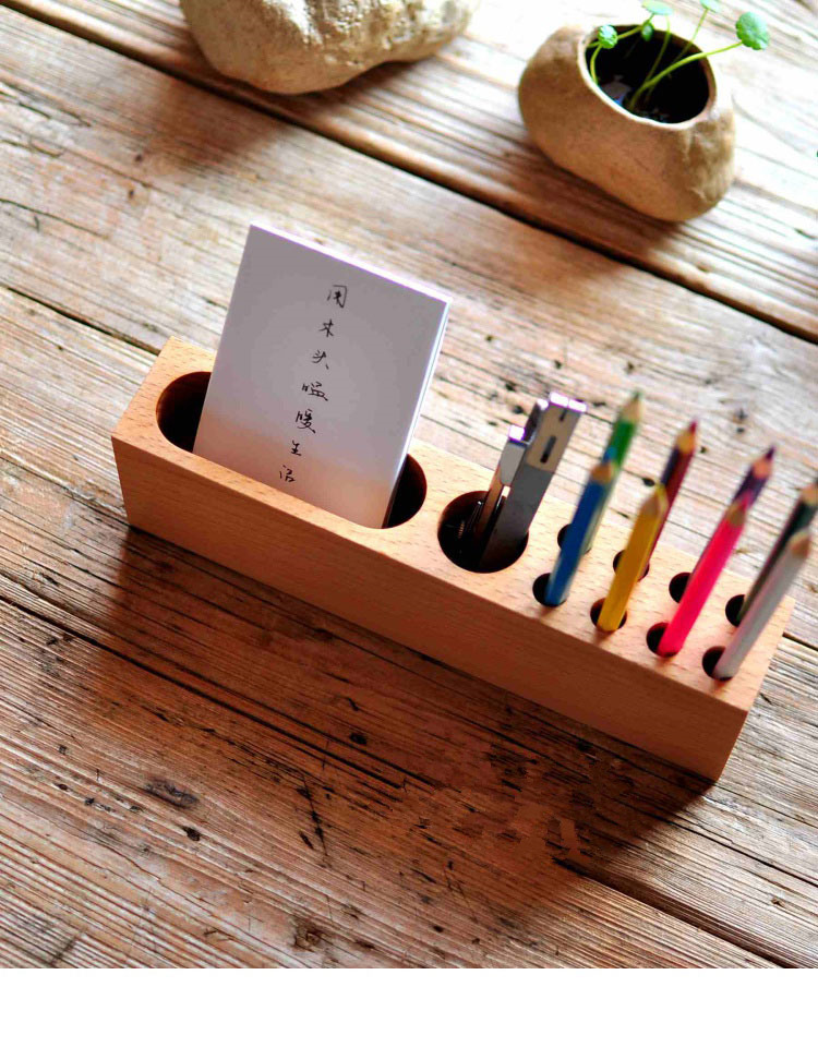 Wooden Creative Computer Desktop Office Pen Container Mobile Holder Sundries Storage Box Desk Organizer Display Decor 1