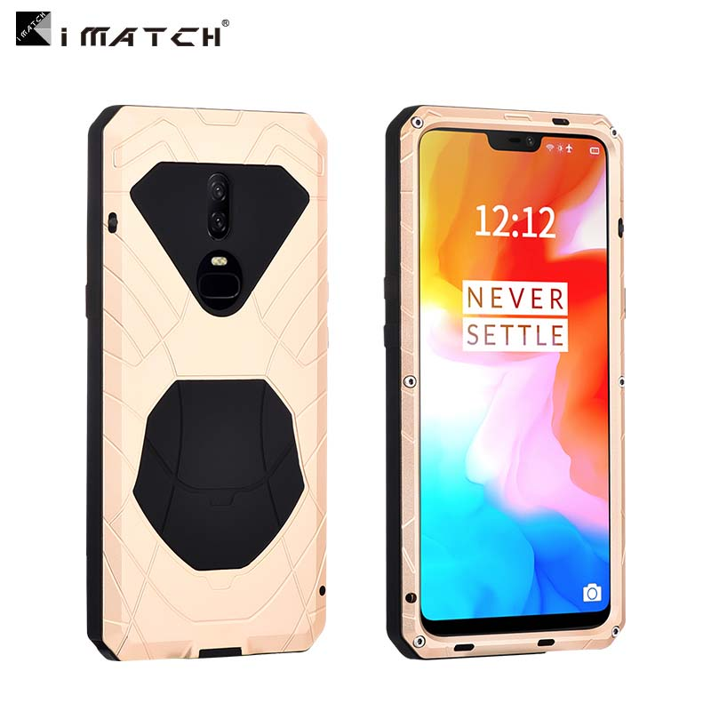 IMATCH Daily Life Waterproof Case For Oneplus 6 Luxury Shockproof Metal Silicone Cover 360 Full Protection Case Cover JS0358
