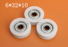 цена на 10pcs626zz UU High quality U groove door pulley ball bearing plastic covered mute bearings U slot embedded bearing 6*32*10mm