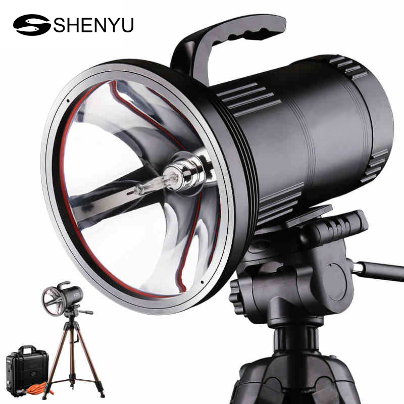 все цены на SHENYU Super Bright HID Portable Searchlight Heavy-Duty Long Range Xenon Spotlight Polymer Lithium Battery with Tripod онлайн