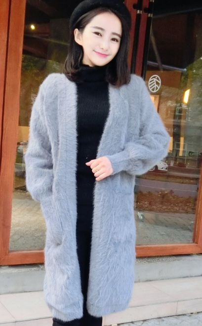 2015 winter womens new mink velvet jacket long fashion V collar coat thick mink cashmere cardigan