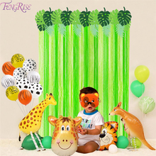 FENGRISE Jungle Party Green Screen Background Decor Dinosaur Theme Safari Birthday Decoration Kids