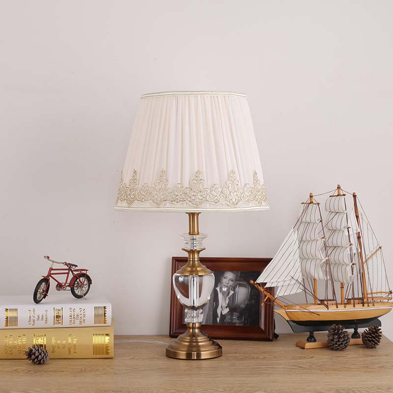 Modern Luxury Crystal Table Lamp Fabric Lampshade Living Room Bedroom  Bedside Light Home Lighting Antique Brass Iron E27 220V In Table Lamps From  Lights ...