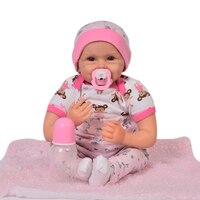 22 дюймов reborn силикона виниловые куклы Reborn Bebe реалиста моды улыбающееся младенцев кукла малышей День рождения Рождественские подарки игруш