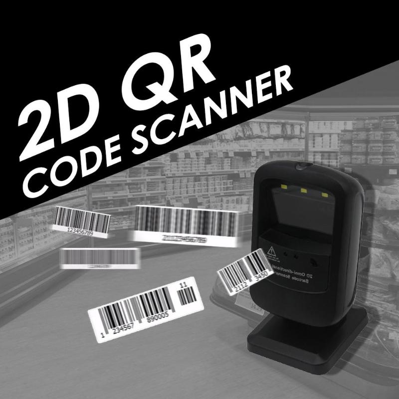 USB Wired Desktop Laser Barcode 2D QR Code Scanner Reader Platform Autoscanner for Supermarket usb laser handheld barcode scanner reader for desktop laptop 2m cable page 1