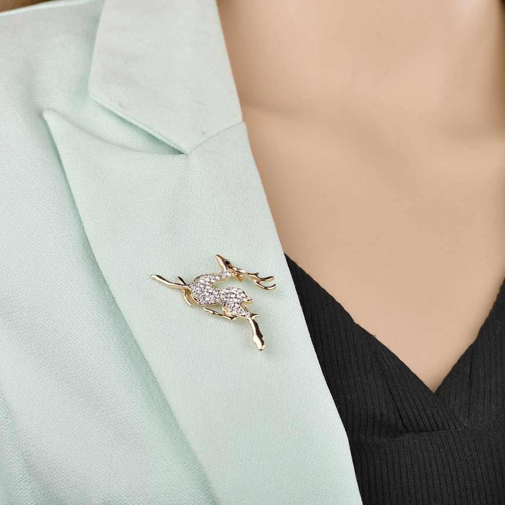2019 Baru Hutan Gadis Elegan Desain Warna Emas Bersinar Crystal Cute Run Rusa Laporan Serangga Bros Wanita Lencana Perhiasan Hadiah